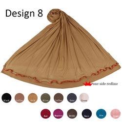 Redline one side D08 мягкий хлопковый эластичный хиджаб из Джерси шарф с камнями для мусульманских исламских женщин шали и обертывания головные шар...