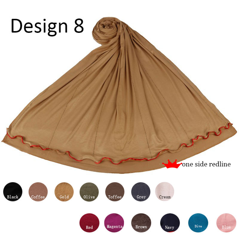 Redline One Side D08  Soft Cottonstretchy Jersey Hijab Scarf  With Stones For Muslim Islamic Women Shawls And Wraps Head Scarves