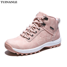 TUINANLE Women Ankle Snow Boot Winter Warm Plush Wedges Rubber Platform Faux Suede Lace Up Sexy Pink Ladies Shoes Botas Mujer