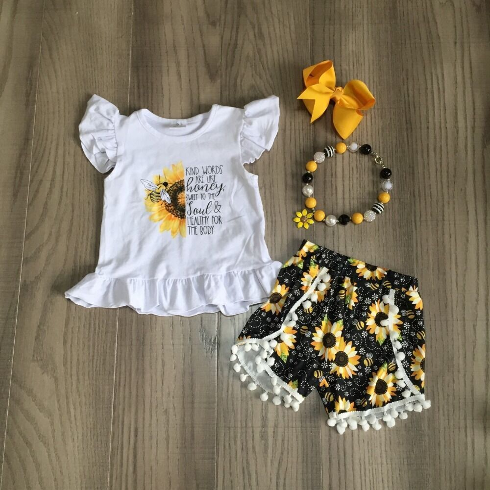Baby Girls Summer Clothes Girls White Shirt With Bee Flower Print Floral Shorts Children Outfits With Accessories