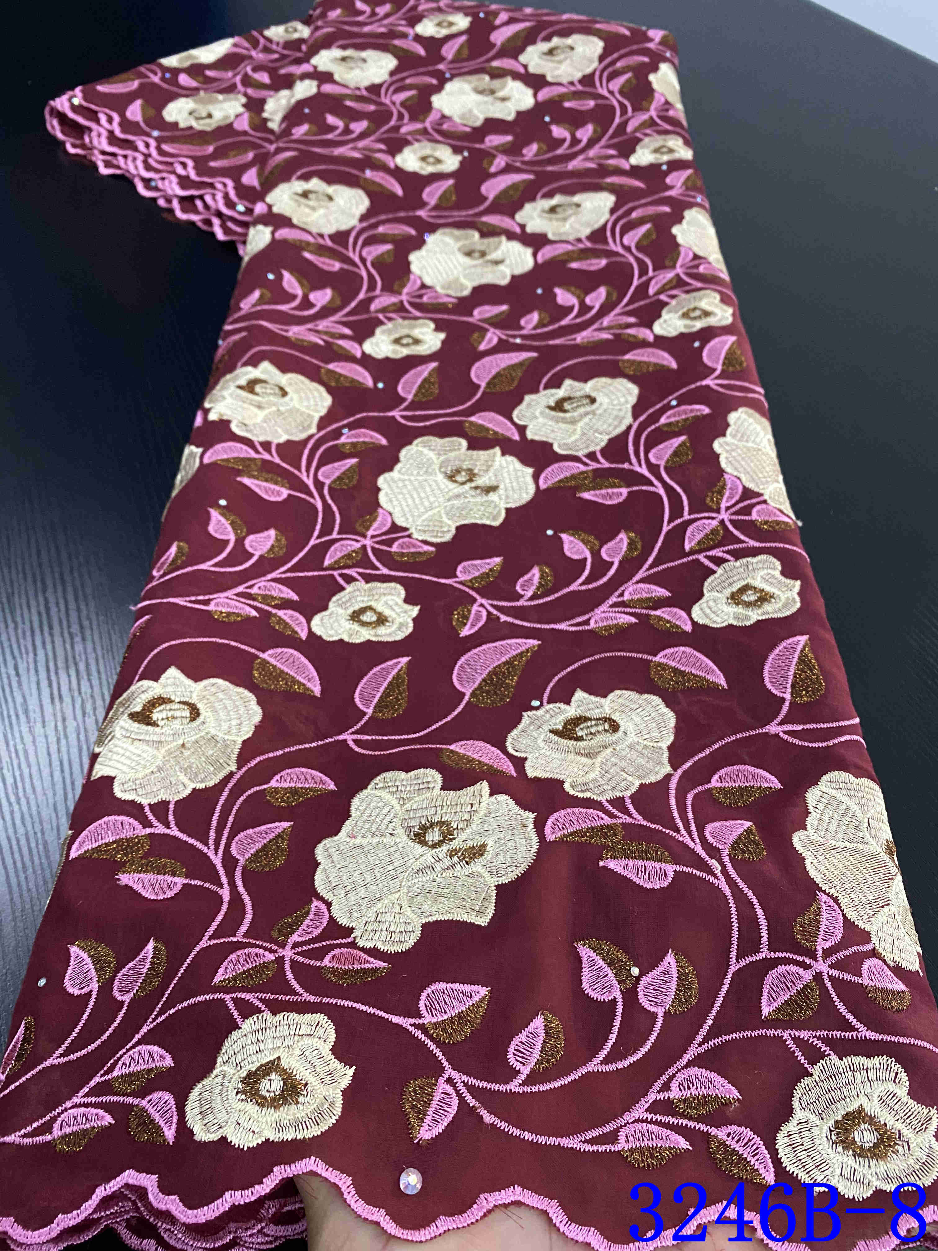 Nigerian Voile Laces Fabrics 2020 High Quality Lace African Lace Fabric For Wedding Dress French Cotton Lace Material YA3246B-8