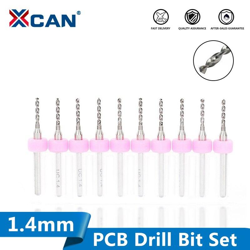 XCAN 10pcs 1.4mm Mirco PCB Drill Bit Set 3.175mm Shank Carbide Drill Bit For Drill Print Circuit Board  CNC Sharpening Drill Bit