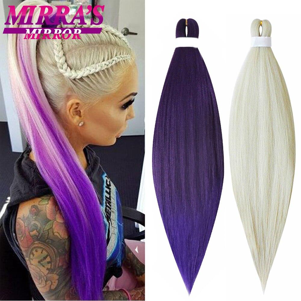 Зеркальные женские плетеные удлинители волос Mirra's 20 дюймов 26 дюймов предварительно растянутые крупные плетеные волосы синтетические волос...
