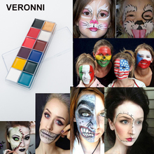 VERONNI 12 Color  Body Art Paint with Brush UV Glow Face Paints Fashion Halloween Painting