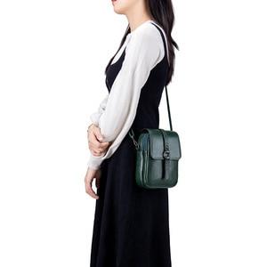 Image 2 - Fashion Mobile Phone Bag Small Clutches Shoulder Bag Genuine Leather Women Mini Handbag High Quality Purse Flap Cross body Bags