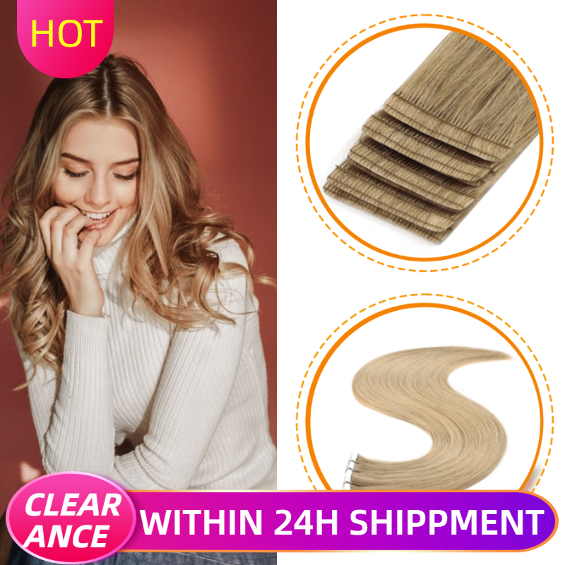 CLEARANCE ITEMS K.S WIGS 24'' 2.8g/pc Straight Remy Human Hair Love Line Invisible Skin Weft Double Drawn Tape Hair Extensions
