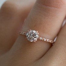Exquisite Rose Gold Round Cut Zircon Rings for Bridal Wedding Rings Engagement Jewelry Valentine's Day Lover Gifts