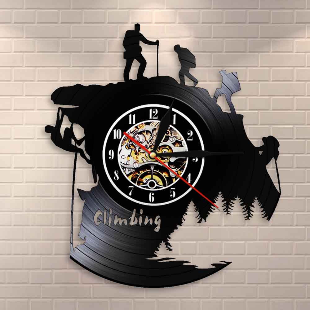 Extreme Adventure Rocking Climbing Wall Clock Climb That Mountain Vinyl Record Wall Clock Climbers Gift Inspirational Wall Watch