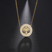 Skyrim Clear Zircon Tree of Life Round Pendant Necklace for Women Girls Stainless Steel Gold Color Viking Choker Necklaces Gift