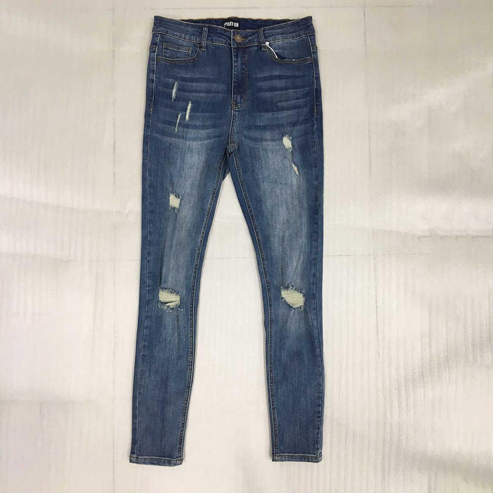 Melody Spray Auf Jeans Herren Denim Waschen Mid Aufstieg Super Dünne Stretchy Blau Zerrissene Jeans Für Männer Sommer Heißer Distressed streetwear