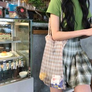 Новые популярные женские сетчатые сумки-тоут женские прозрачные клетчатые сумки через плечо многоразовые сумки складные декоративные пов...
