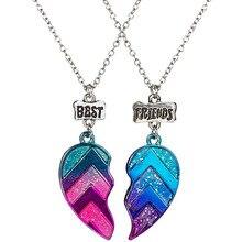 Unisex 2 Pcs BFF Necklace Womens Heart Pendant Best Friend Letter Necklace Fashion Couple Chain Necklace Men Friendship Jewelry