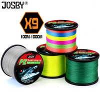 JOSBY Fishing line Pesca Fly Carp Peche PE Braided Multifilamento Wire Accessories 9 Strands Cord 100M 300M 500M 1000M 22-135LB