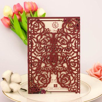 Envío Gratis 1X oro/plata/Rosa/champán/Rosa Brillo/Marfil perla hueca flor de corte por láser invitación tarjetas de invitación de boda