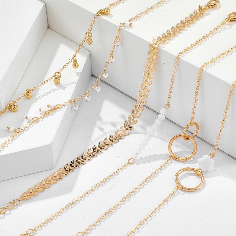 Tocona Bohemian Gold Tassel Bracelets for Women Boho Jewelry Geometric Leaves Beads Layered Hand Chain Charm Bracelet Set 9143