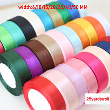 25Yards/Roll Silk Satin Ribbon Sewing 6/10/15/20/25/40/50mm Wedding Christmas Party Decorations DIY Rose Bow Crafts Gift Wrap D2
