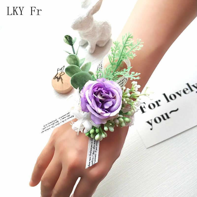 LKY FR Pergelangan Tangan Korsase Gelang untuk Bridesmaid Bridal Gelang Bunga Ungu Korsase Pernikahan Boutonniere Pernikahan Aksesoris