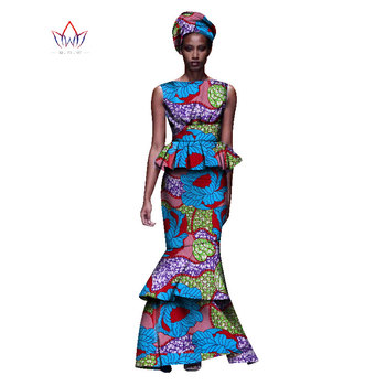 2020 New African Dresses For Women Dashiki Ladies Clothes Ankara O-Neck Africa Clothes Two Pieces Set Natural 6xl None WY1054 - 17, M
