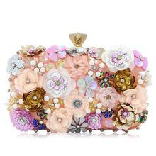 AUAU-женские клатчи с цветком, вечерняя сумочка с блестками, атласный вечерний клатч