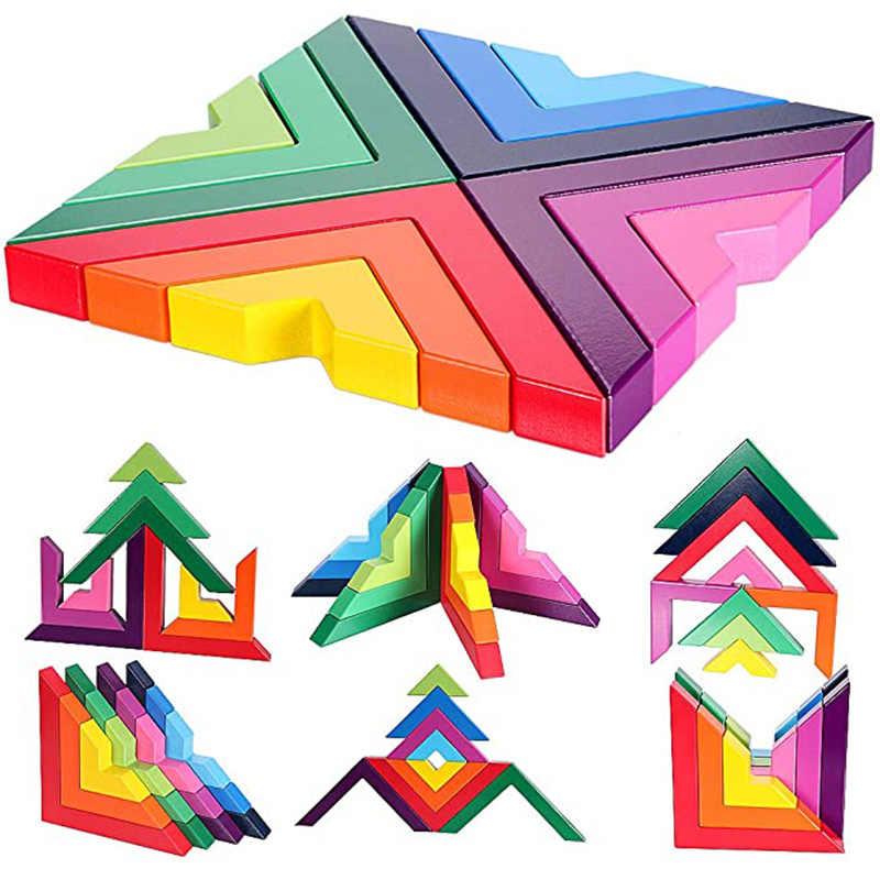 1 Conjunto de brinquedo de empilhamento Arco-íris blocos de construção Brinquedos Educativos Para Crianças Filhos