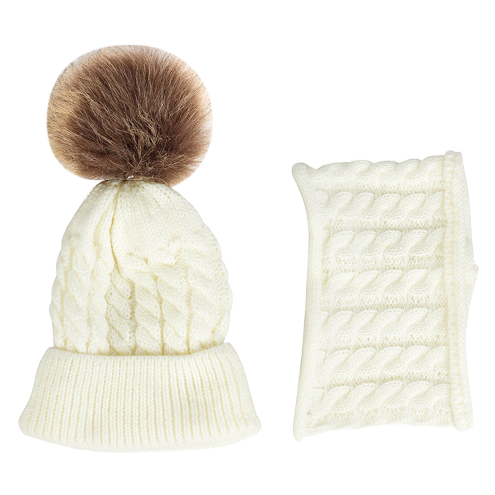 2PCS Outfit Warm Daily Gift Soft Autumn Winter Striped Hat Scarf Set Baby Kids Woolen Yarn Knitted Unisex Cute Neckerchief