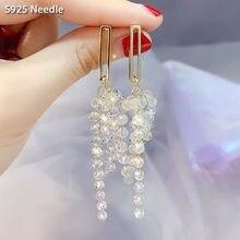 Real 925 prata esterlina agulha longo balançar brincos de gota para as jóias femininas fada bling cristal borla brincos femininos