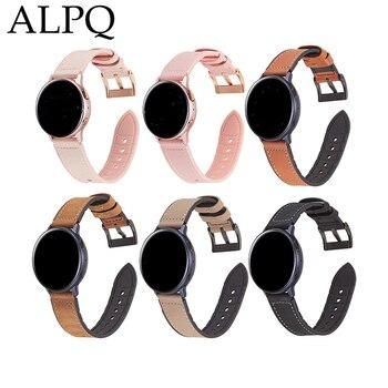 ALPQ 20mm Leather Strap For Samsung Galaxy Watch Active 2 Smart Watch 40mm 44mm Strap Sport Wrist Band Bracelet Belt Watchband