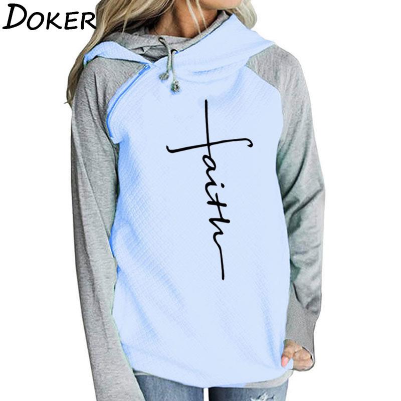 Autumn Winter Patchwork Hoodies Sweatshirts Women Faith Cross Embroidered Long Sleeve Sweatshirts Female Warm Pullover Tops