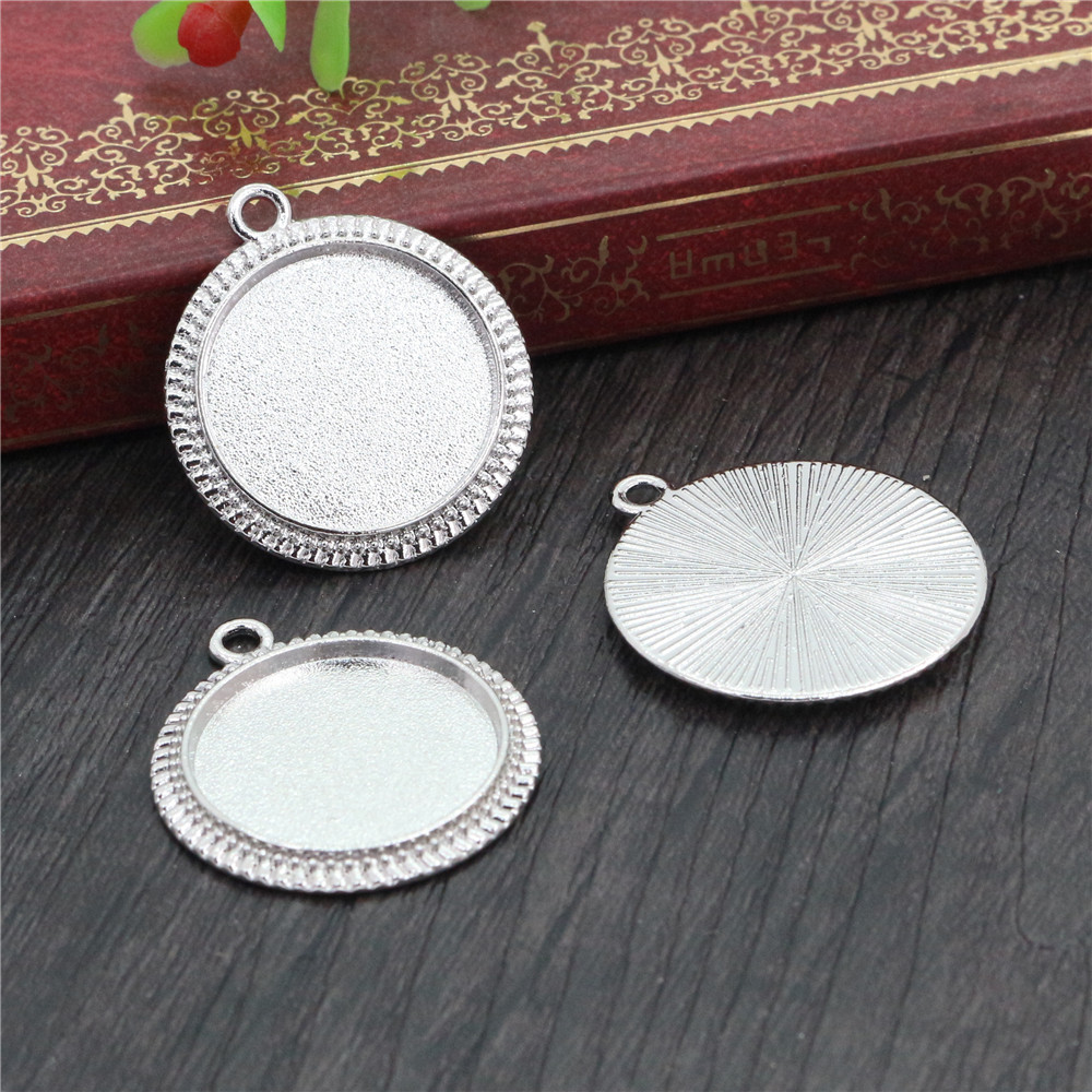 10pcs 20mm Inner Size Rhodium Color Plated Classic Style Cabochon Base Setting Charms Pendant (D1-09)