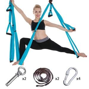 Image 3 - Volledige Set 6 Handgrepen Anti Zwaartekracht Antenne Yoga Plafond Hangmat Vliegende Swing Trapeze Yoga Inversie Apparaat Home Gym Opknoping riem