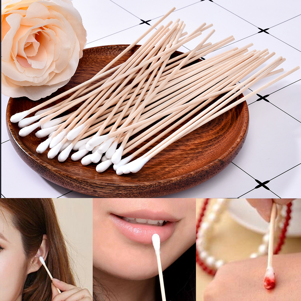 100Pcs/Bag Single Head Disposable Makeup Cotton Swab Soft Cotton Buds For Medical Wood Sticks Nose Ears Cleaning Tools Cotonete