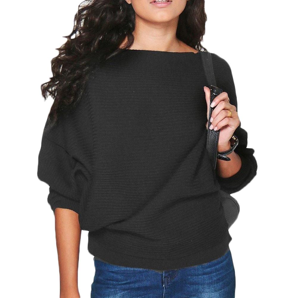 New-coming Autumn Winter Slash Neck Pullovers Sweaters Primer Shirt  Blouse Batwing Dolman Sleeve Knitted Fabric Sweater Top