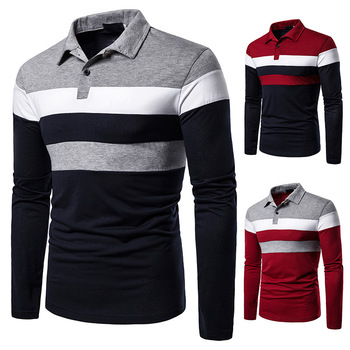 Brand Clothing Men Polo Shirt Men Business Casual Male Polo Shirt Long Sleeve Strip High Quality Contrast Color Mens Polo Shirts 2019 autumn winter harmont men polo high quality striped polo shirt fashion casual long sleeves solid polo shirt brand clothing