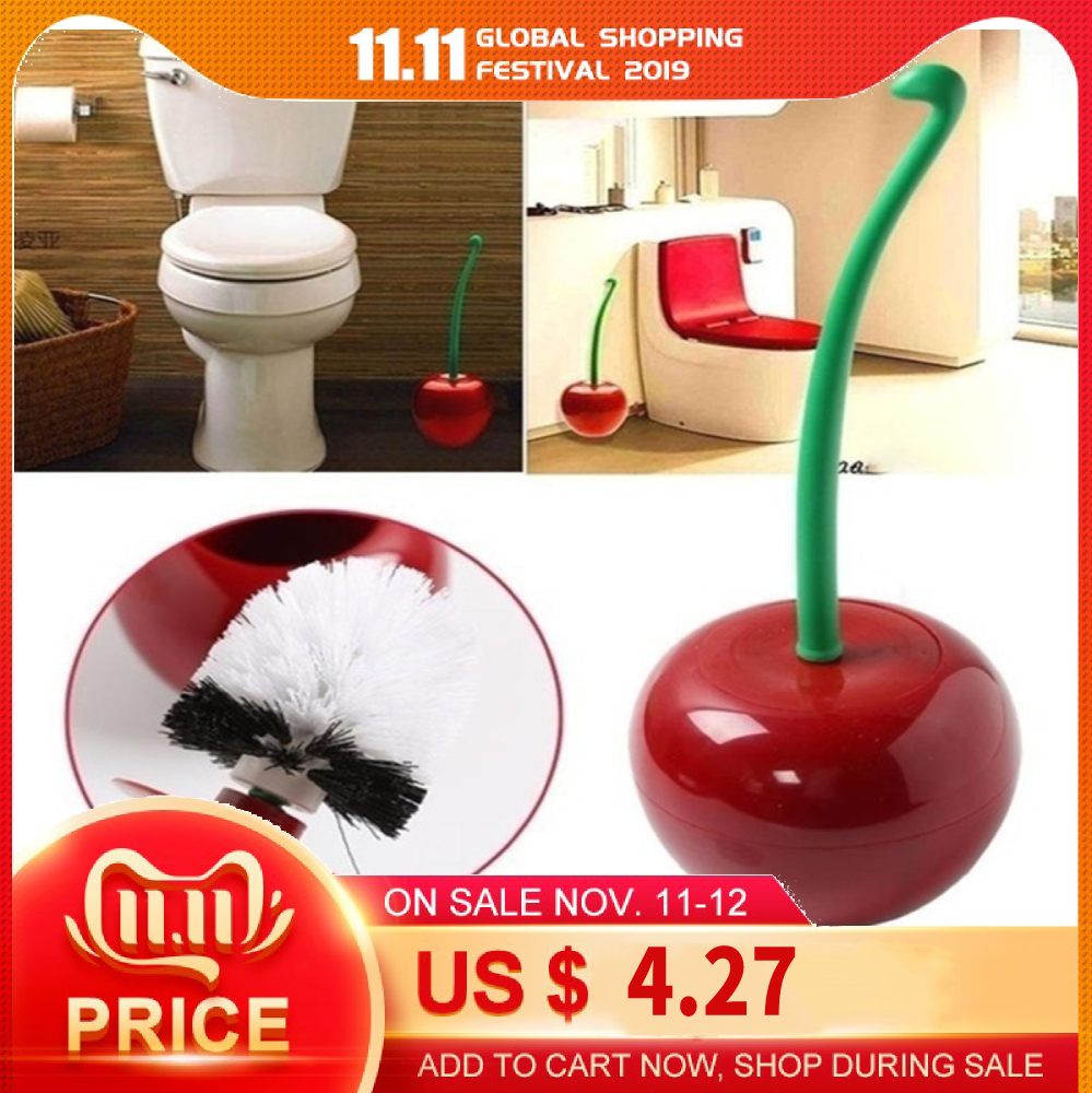 Funny Cherry Shape Toilet Bowl Brush Bathroom Cleaning Tool Holder With Base Toilet Brush Home Cleaner
