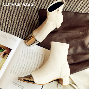 Curvaness Square Toe Boots Women Winter Chelsea Boots Warm Shoes Pointed toe Sexy Ladies High Heels Boots Women's Ankle Botas