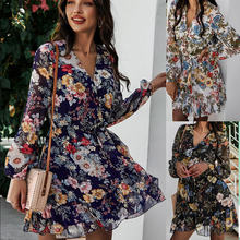 Fakuntn женское платье 2021 Весна v образным вырезом шифоновое
