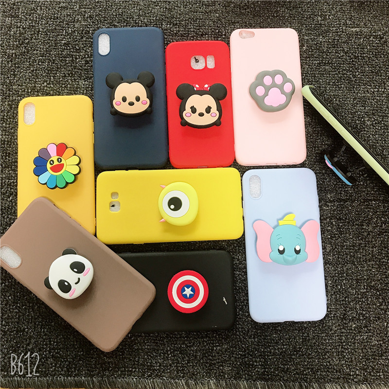3D Cartoon Minnie Flexible Stand <font><b>Holder</b></font> <font><b>Phone</b></font> <font><b>Case</b></font> For <font><b>Samsung</b></font> Galaxy S6 S7 Edge S8 <font><b>S9</b></font> Plus S10 5G S10E Lite Soft Silicone Cover image