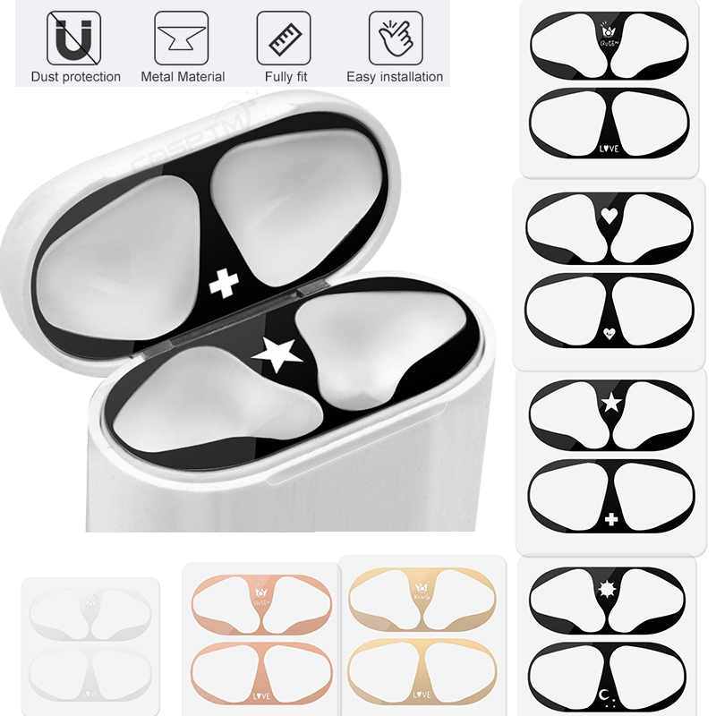 Metal Film Sticker For Apple AirPods Accessories Metal Ultra Thin Skin Dust Guard Sticker For Airpods 2 1 Skin Cover Protector