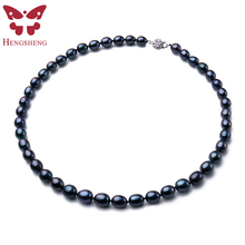 New Arrival 8-9 mm Natural Freshwater Black Pearl Jewelry Necklace 925 Sterling Silver Flower Buckle  Fine Jewelry For Women