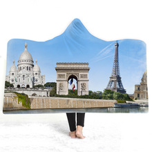 Triumphal Arch Hooded Blanket For Adults Childs 3D Printed Soft Plush Wearable Warm Throw Home Travel Picnic