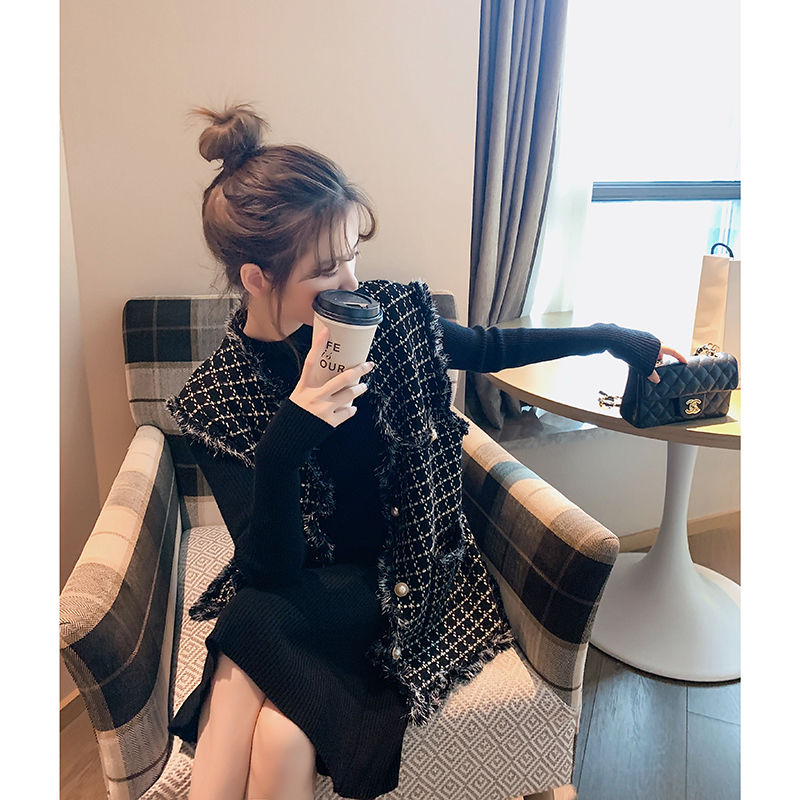 New Tweed Vest Women's Fashion Short Cardigan Vests All-matching Celebrity Style Plaid Fringe Waistcoat Women Winter Vest Women
