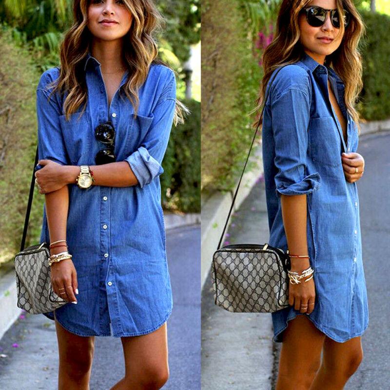 Womens Autumn Arrival Brief Solid Turn Down Neck Button Blue Jeans Denim T-Shirt Long Sleeve Casual Loose Shirt Short Dress