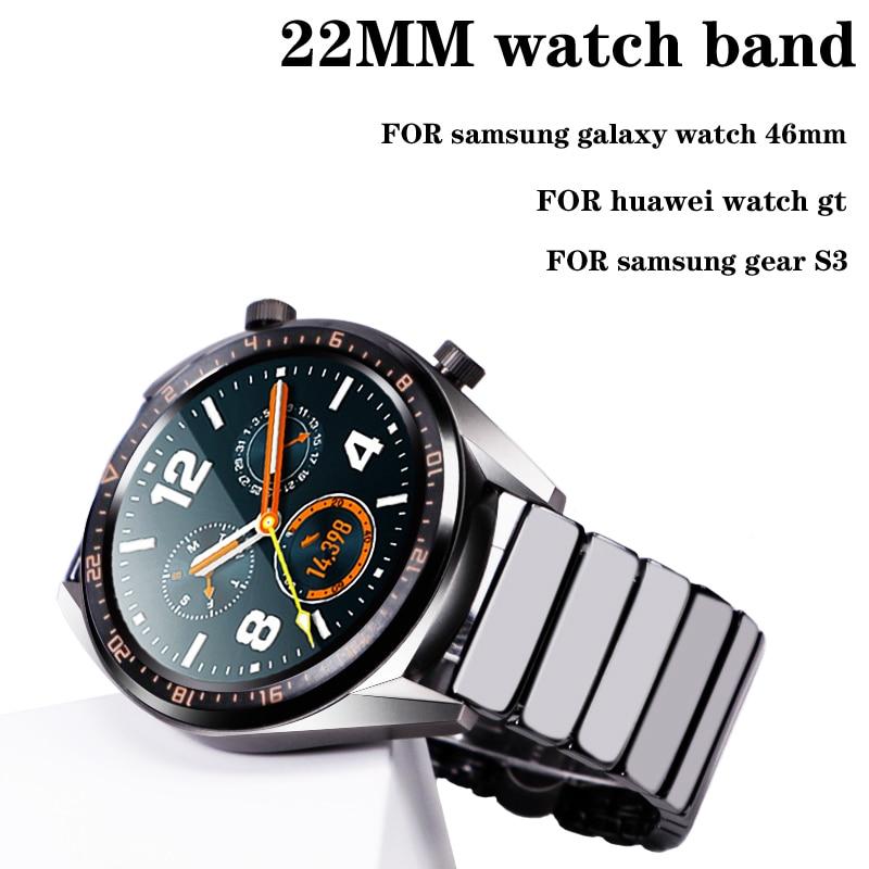 22mm Ceramics Strap For Samsung Galaxy Watch 46mm Gear S3 Frontier Huawei Watch Gt Watch 2 46mm Band Amazfit GTR 47mm Bracelet