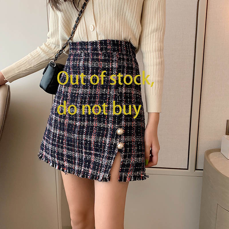 Winter Tweed Skirts Women Button Autumn Mini Pencil Skirts Plaid Wool Skirts Korean Bodycon High Waist Elegant Tweed Skirt V618