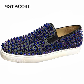 MStacchi Fashion Trend Men Loafers Dazzling Rivet Breathable Slip-On High Quality Leather Male Shoes Luxury Men Leisure Shoes