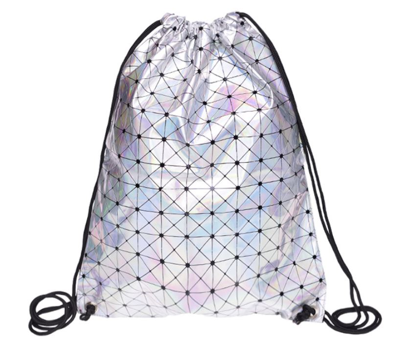 2019 New PU Leather Drawstring Bags For Women Soft Geometric Laser Silver Backpacks Travelling Causal School Bags For Teenagers