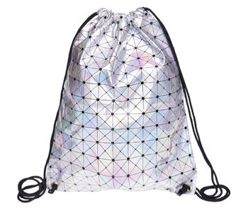 2019 New PU Leather Drawstring Bags For Women Soft Geometric Laser Silver Backpacks Travelling Causal School Teenagers