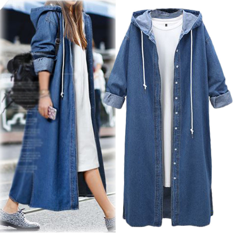 Denim   Trench   Coat for Women Classic Long   Trench   Coat Chic Female Windbreaker new Fashion 2019 Casual Outwear Loose Clothing