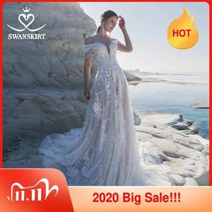 Image 1 - מתוקה 3D פרחי חתונה שמלת Swanskirt אפליקציות מכתף אונליין תחרה עד נסיכת כלה שמלת Vestido דה Noiva LZ22