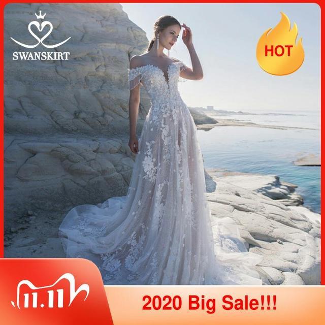 מתוקה 3D פרחי חתונה שמלת Swanskirt אפליקציות מכתף אונליין תחרה עד נסיכת כלה שמלת Vestido דה Noiva LZ22